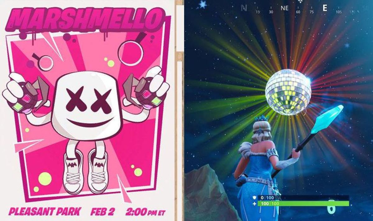 A flyer for Party at Pleasant Park, the Fortnite in-game concert headlined by Marshmello - alongside an in-game screen shot.