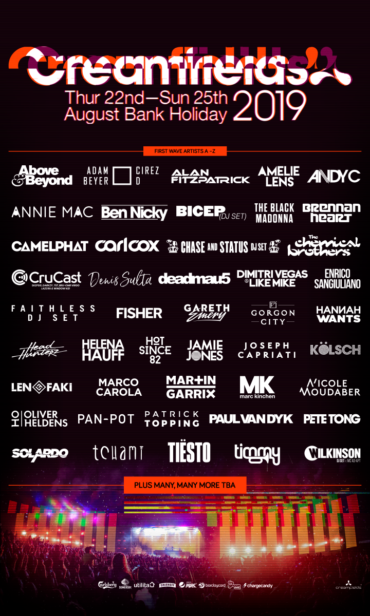 The flyer for Creamfields 2019 first wave lineup announcement.