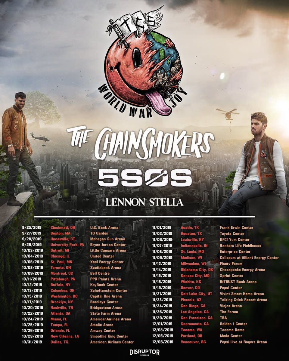 Flyer for The Chainsmokers and 5SOS' WORLD WAR JOY 2019 North American fall tour.