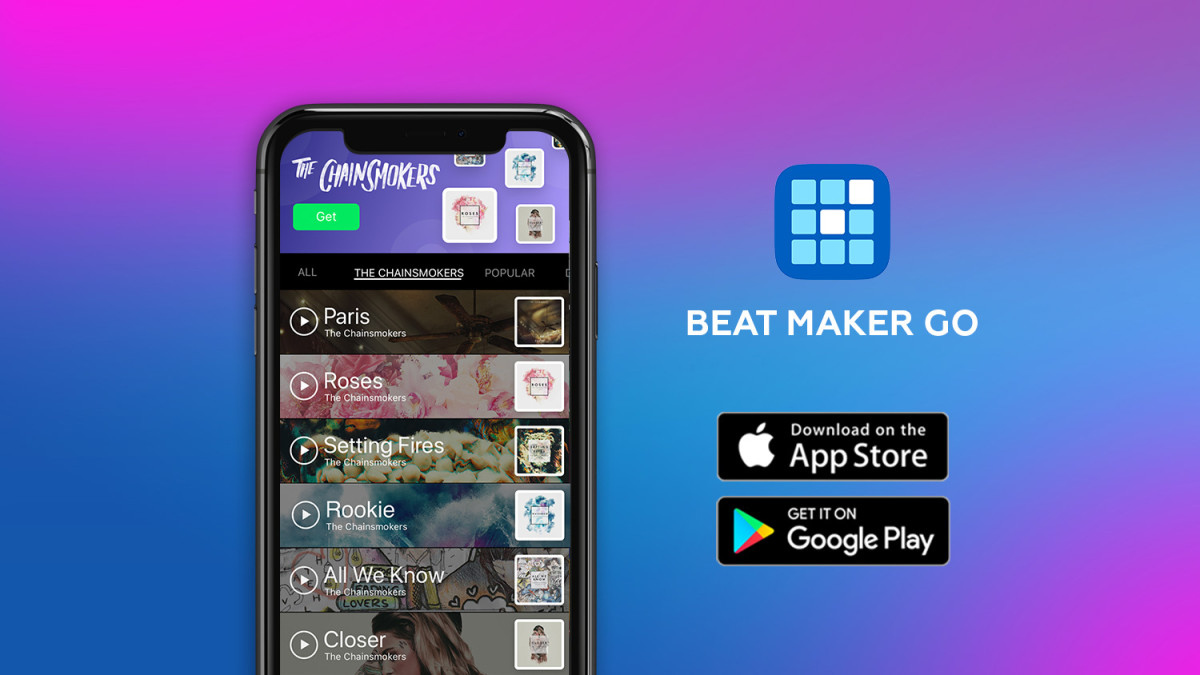 Beat Maker Go (App Store  / Google Play) - Partnership with The Chainsmokers via EDM.com Feature