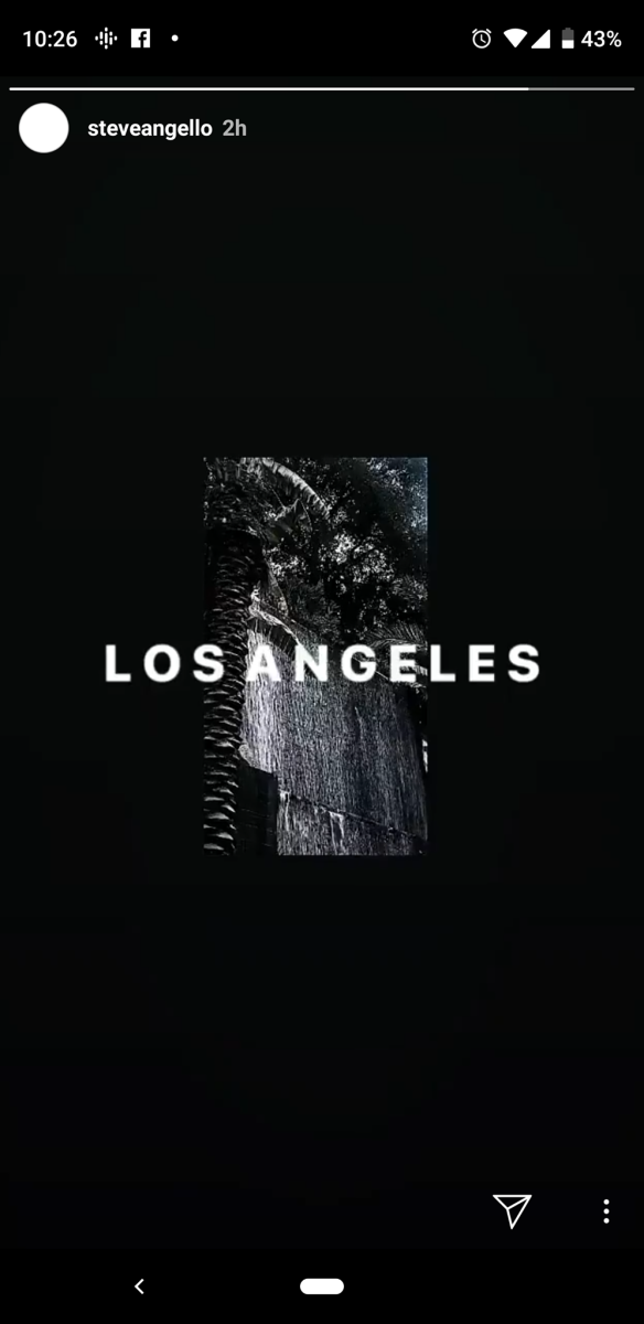 An image shared to Steve Angello's Instagram story teasing a Los Angeles Swedish House Mafia performance.