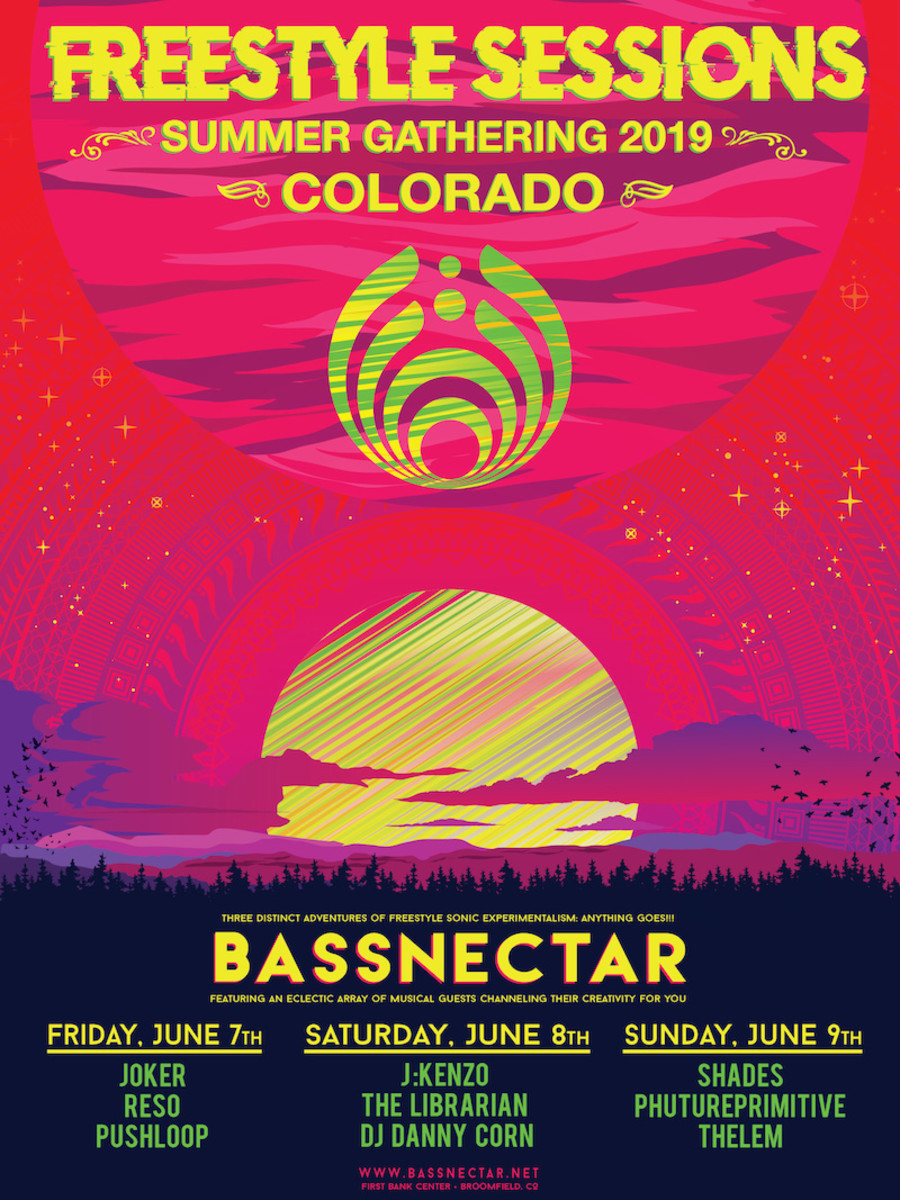 The flyer for Bassnectar's Freestlye Sessions Summer Gathering 2019, which returns to Colorado July 7th-9th, 2019.