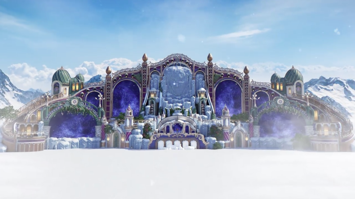 A computer graphics rendering of the main stage at the 2019 (inaugural) edition of Tomorrowland Winter.