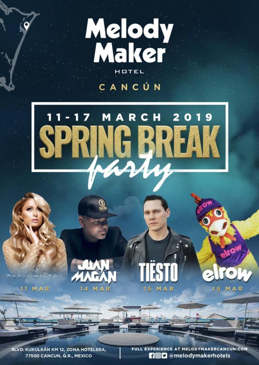 Melody Maker Cancun Hotel - Spring Break Party 2019 - Paris Hilton, Juan Magan, Tiesto, Elrow, Etc. (EDM.com Feature)