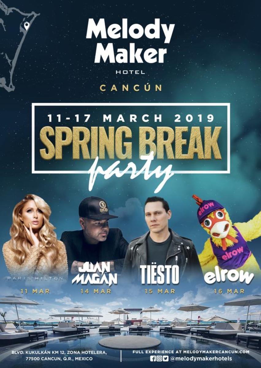 Melody Maker Cancun Hotel - Spring Break Party 2019 - Paris Hilton, Juan Magan, Tiesto, Elrow, Etc. (EDM.com Feature)