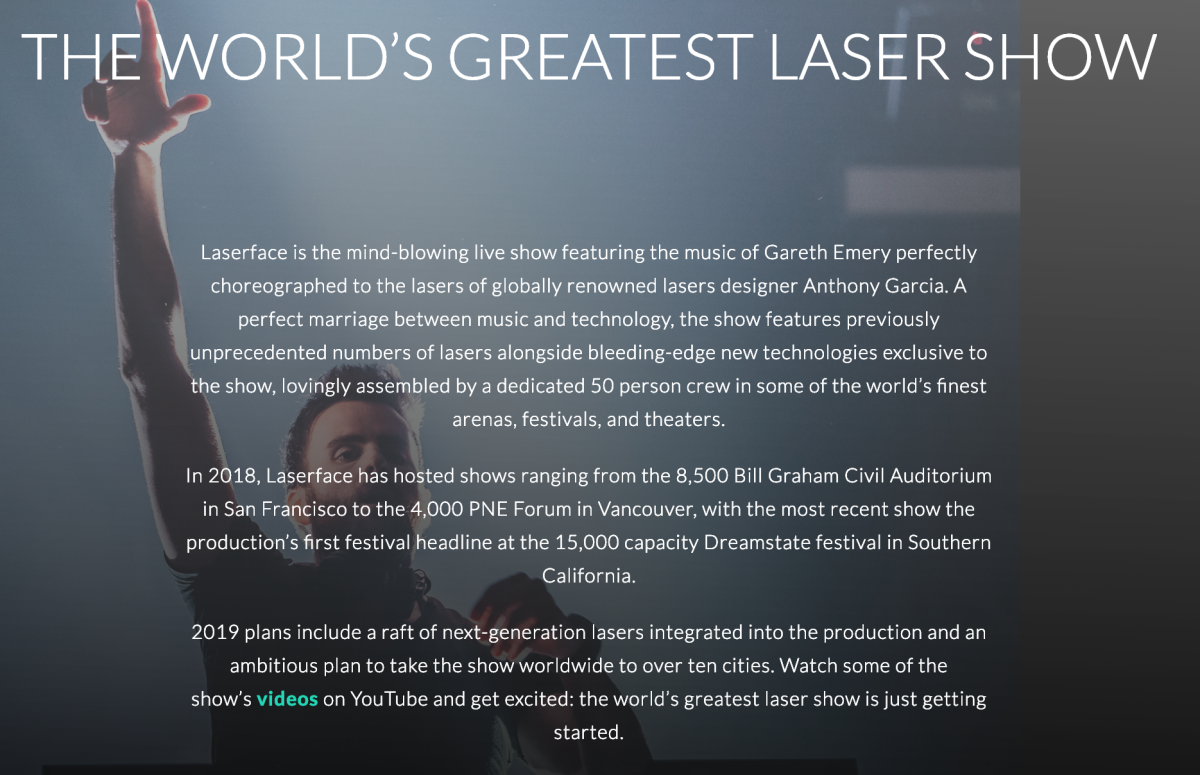 Gareth Emery - Description of Laserface, The Worlds Greatest Laser Show (EDM.com Feature)