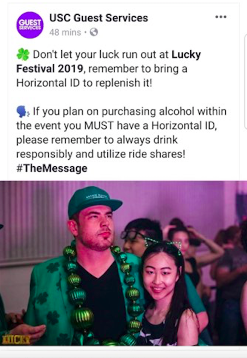 A post made to USC Guest Services, a page run by USC Events, using a photo of alleged Foundation Nightclub date rape drug dealer Christopher Jean Charette.