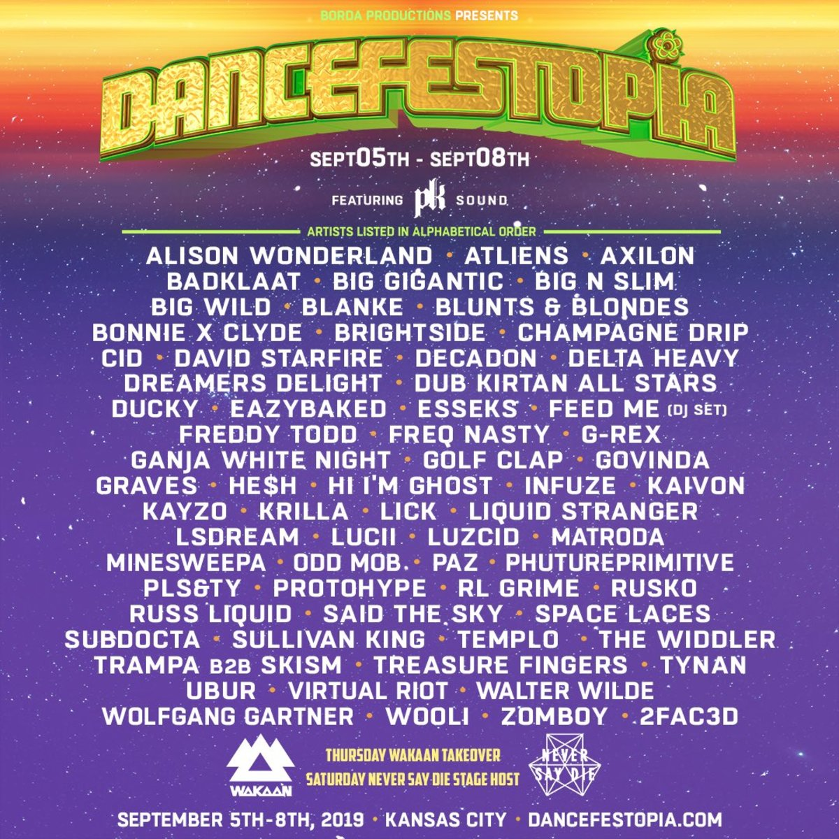 The lineup flyer for Dancefestopia 2019, including Alison Wonderland, Big Gigantic, Rusko, Kayzo and more.