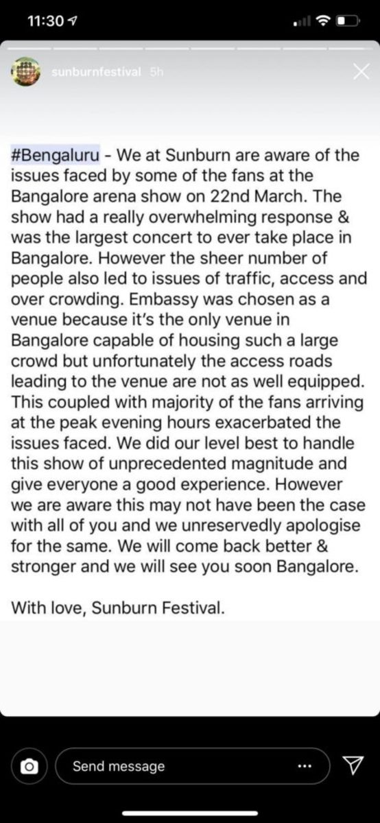 A statement issued by Sunburn Festival staff following issues that arose after Sunburn Arena.