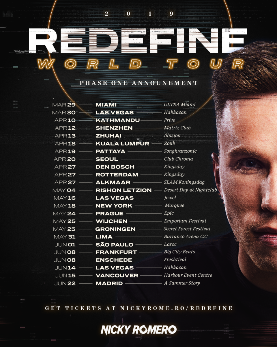 Nicky Romero Redefine 2019 World Tour Dates - Phase One