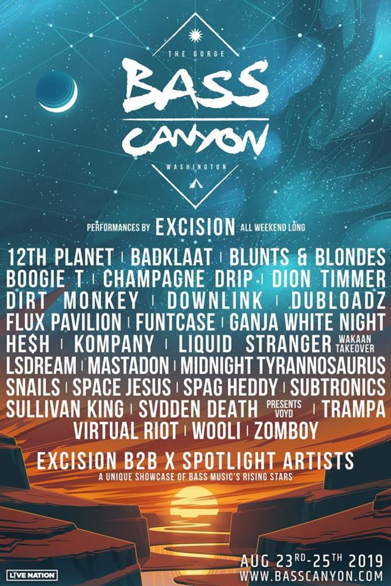 Official Bass Canyon Lineup 2019