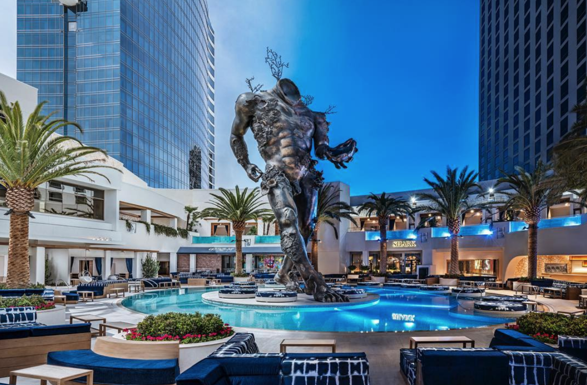 "Damien Hirst's ""Demon With Bowl"" statue at KAOS. Photo: Palms Casino Resort"