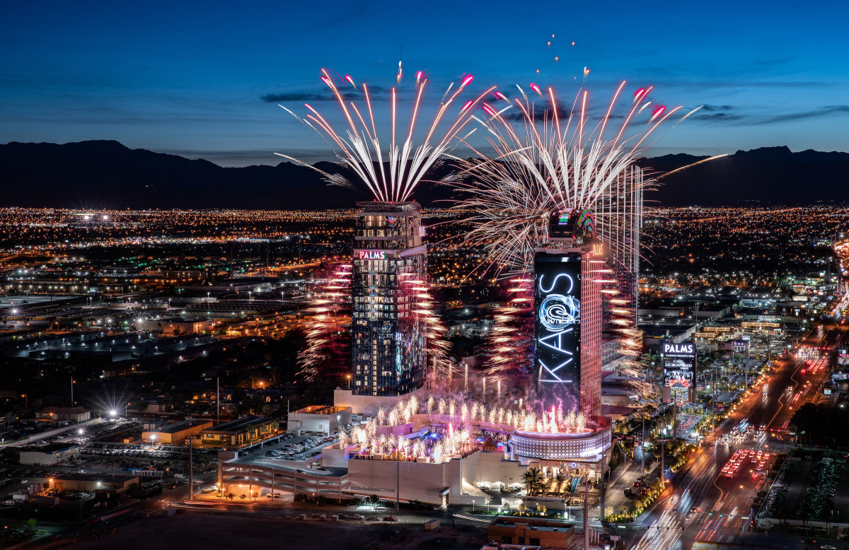 Fireworks display celebrating the grand opening of KAOS. Photo: Palms Casino Resort