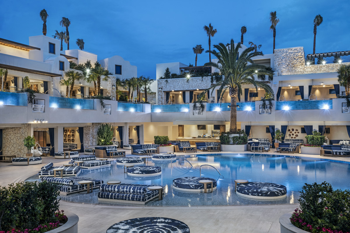 The east pool and its surrounding cabanas. Photo: Palms Casino Resort