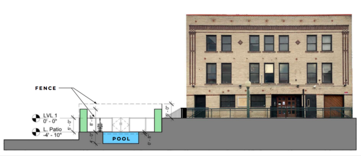 A drawing submitted to the Denver Landmark Preservation Commission by the owners of Beta Nightclub for Beta 2.0's proposed pool.