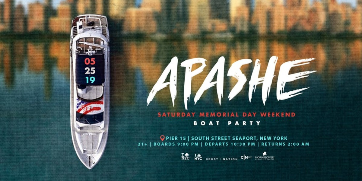 Apashe Boat Party in NYC on Memorial Day Weekend (Hornblower Cruises / Crust Nation)