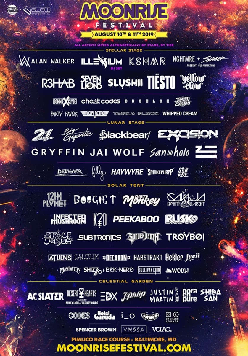 The lineup flyer for the 2019 edition of Moonrise Festival in Baltimore, Maryland.