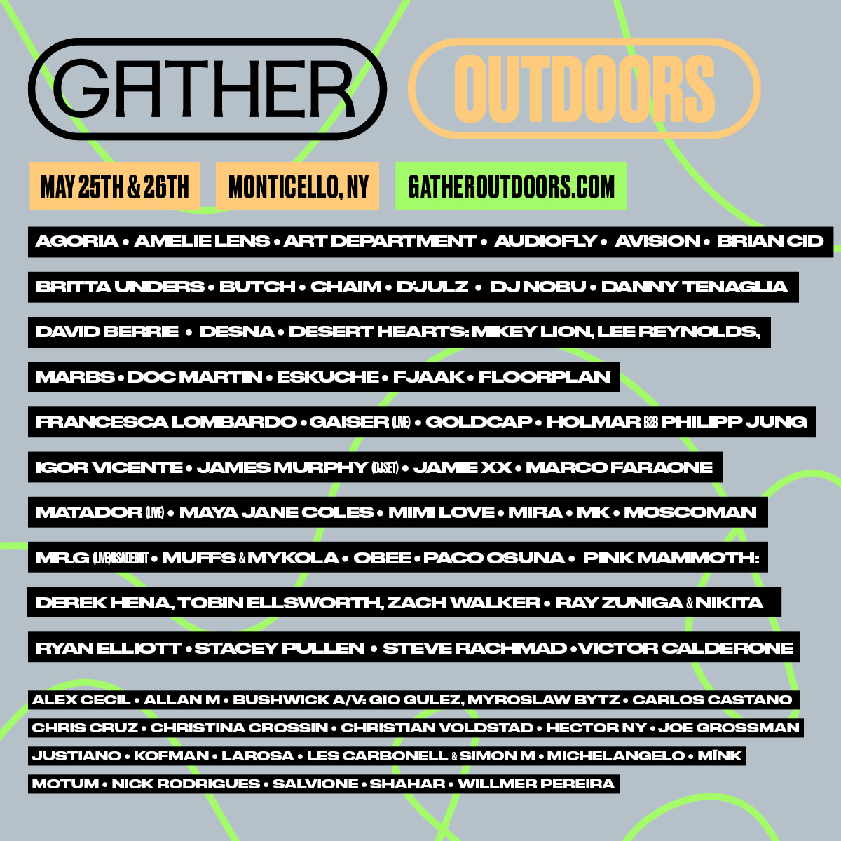 Gather Outdoors 2019 - Artist Lineup (May 25th & 26th in Monticello, NY)