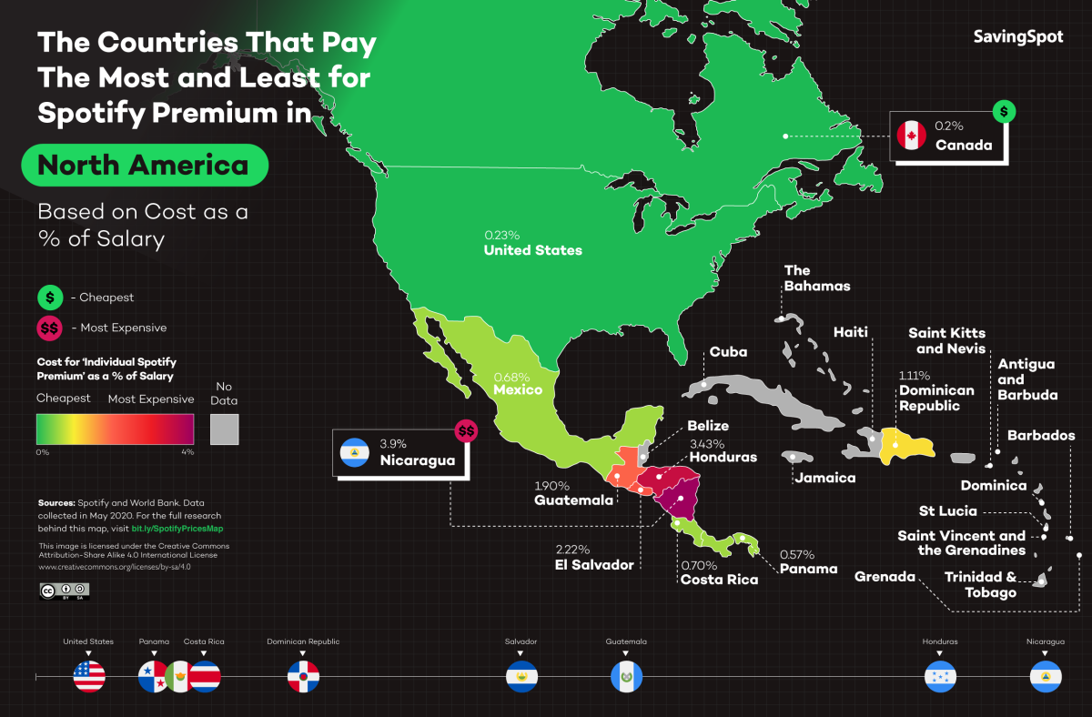 Spotify Premium prix en Amérique du Nord