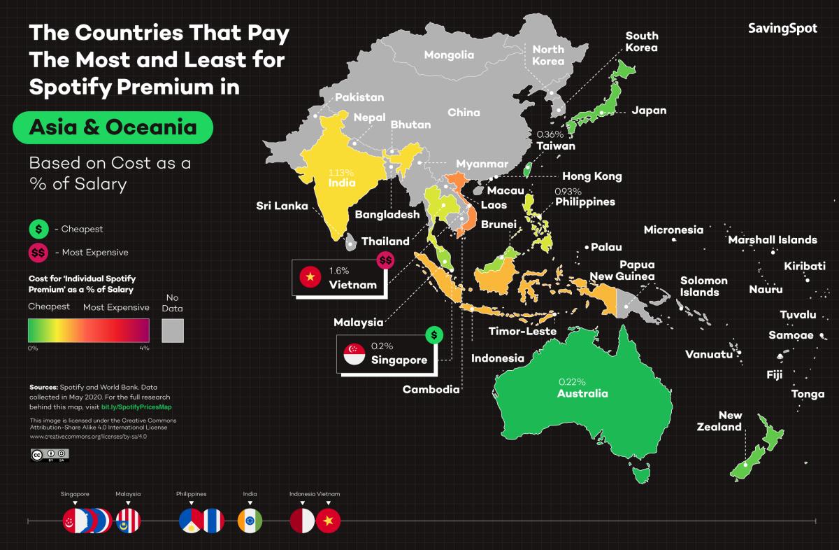 Spotify Premium prix en Asie