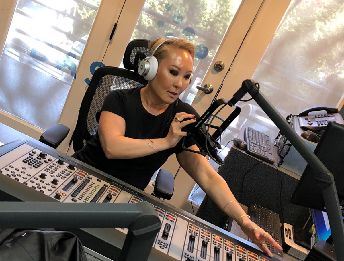 Emily Tan on-air at Dash Radio, Los Angeles. Photocredit: Tommy Capretto.