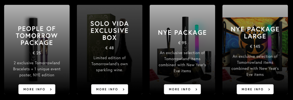 Screenshot of packages offered by Tomorrowland for the brand's 2020 NYE virtual festival.