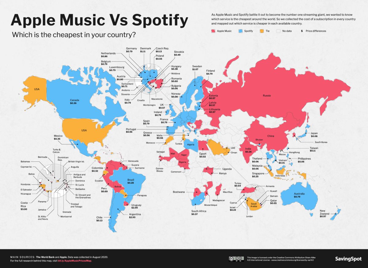 Carte Apple Music v. Spotify de SavingSpot