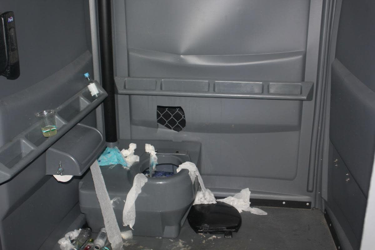 The portable toilet where Jane Doe was sexually assaulted at BottleRock 2019.