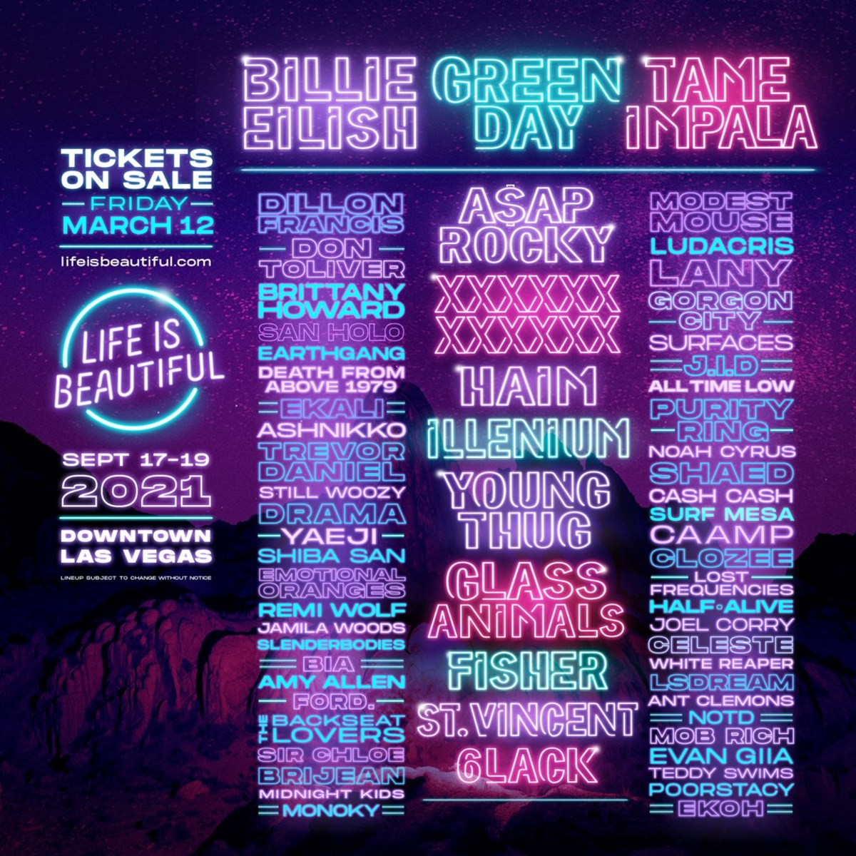 Billie Eilish, Green Day, and Tame Impala are set to headline the 2021 edition of Life Is Beatiful in Las Vegas.