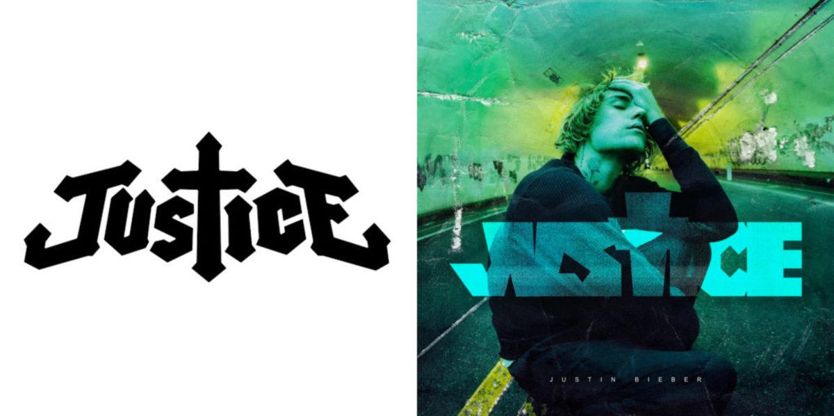 "Justice's logo (L), Justin Bieber's ""Justice"" album artwork (R)."