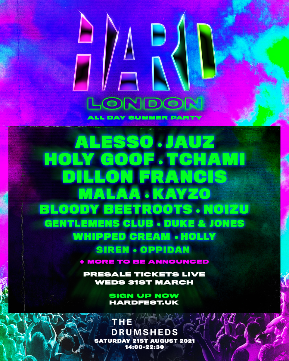 Flyer for HARD Events' inaugural London music festival.