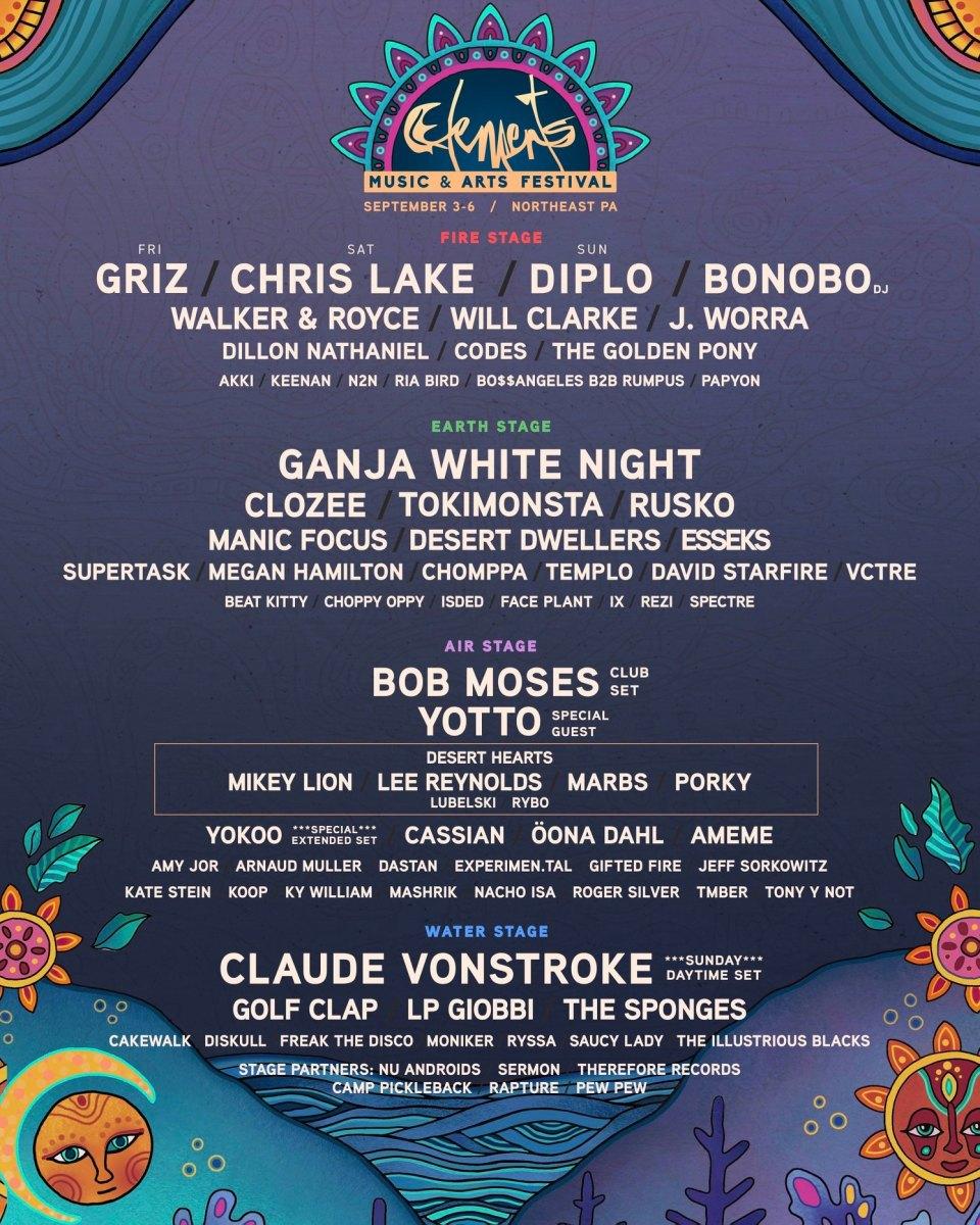 Elements, Elements Music Festival, Elements Festival, Elements Music & Arts Festival, GRiZ, Chris Lake, Diplo, Bonobo, Ganja White Night, CloZee, Tokimonsta, Rusko, Manic Focus