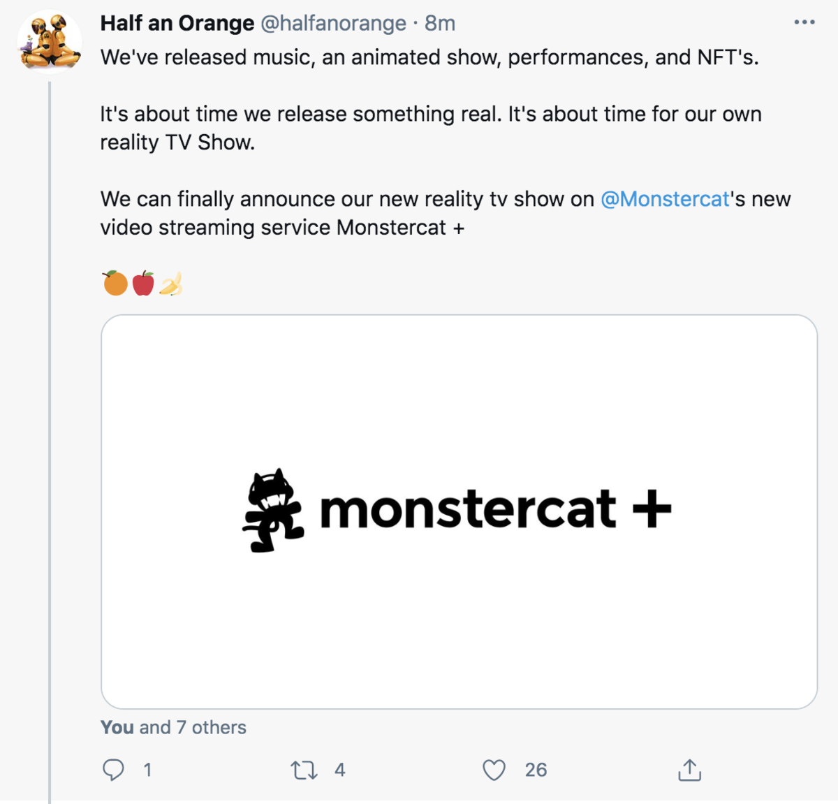 A since-deleted tweet mentioning Monstercat+, shared by dance music duo Half An Orange. [Screenshot by EDM.com]