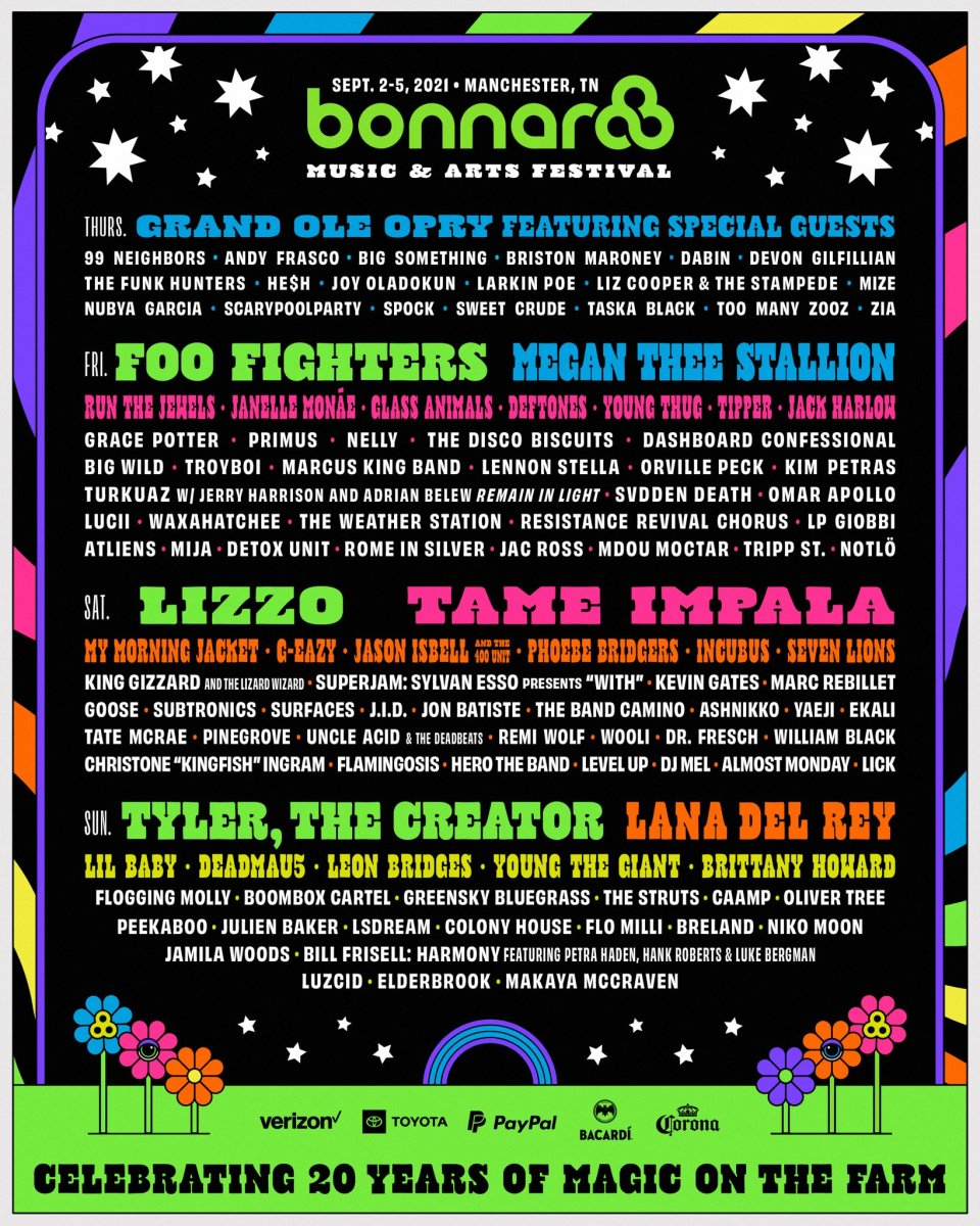 Flyer for the 2021 edition of Bonnaroo, which will feature performances from Foo Fighters, Megan Thee Stallion, Lizzo, Tame Impala, and many more.
