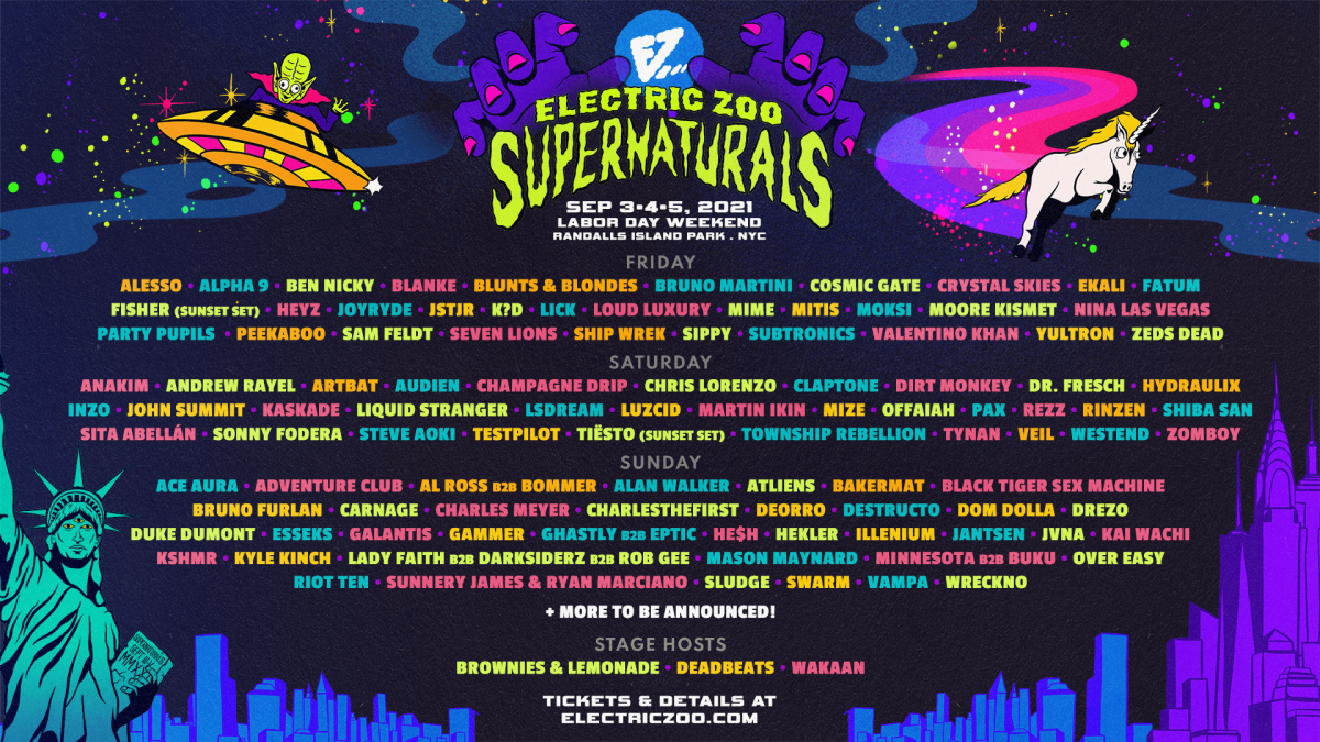 Electric Zoo Supernaturals: 2021 Phase Two lineup.