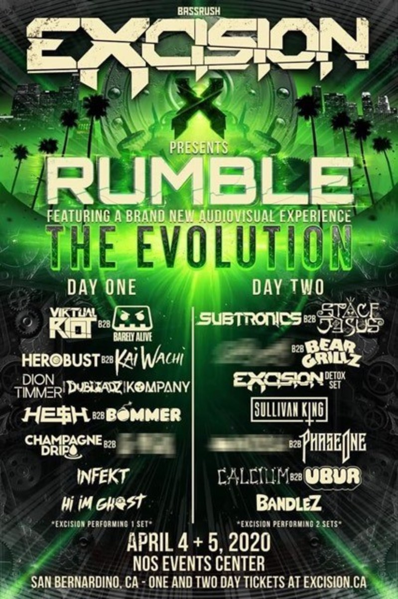 The 2020 lineup for Excision Presents Rumble.