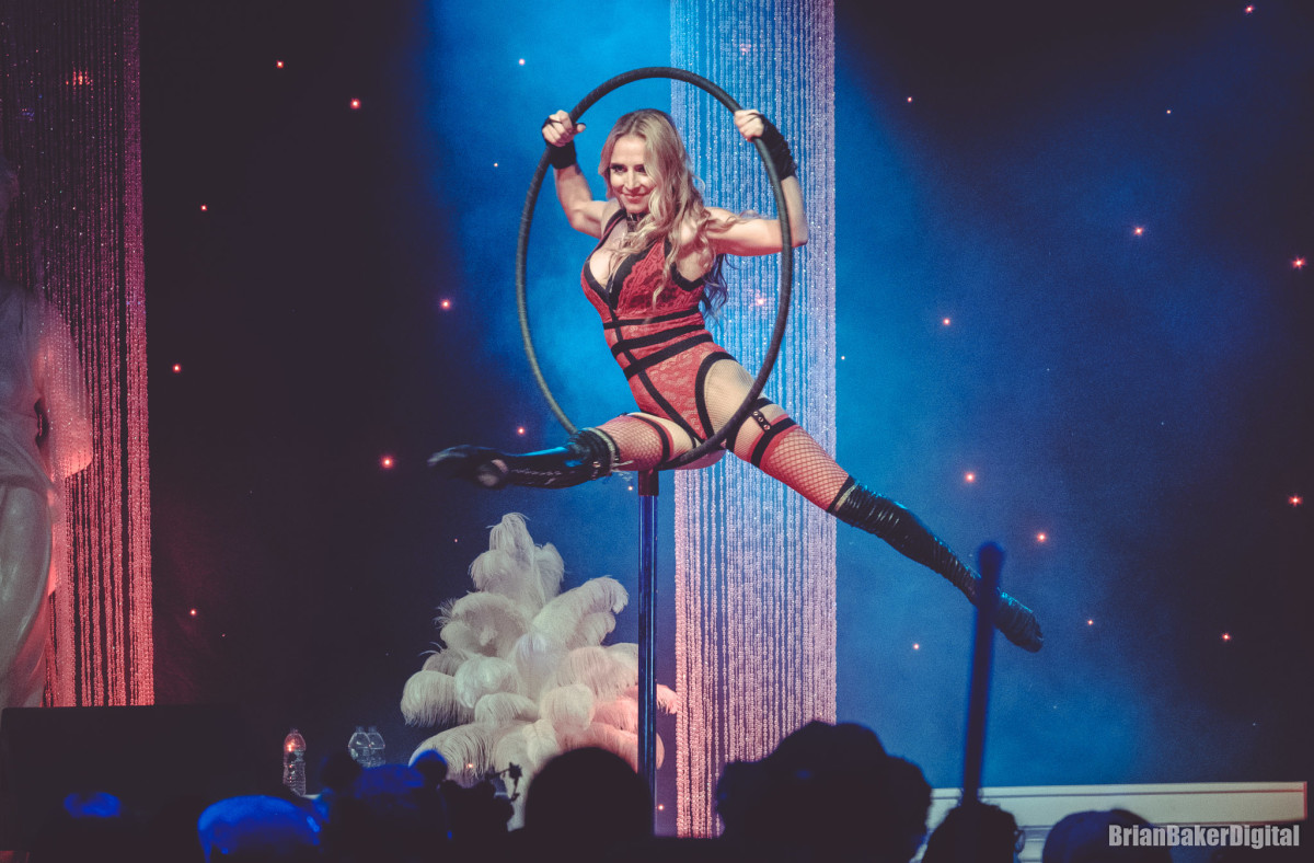 Electric Forest Burlesque show woman in lingerie hoop dance