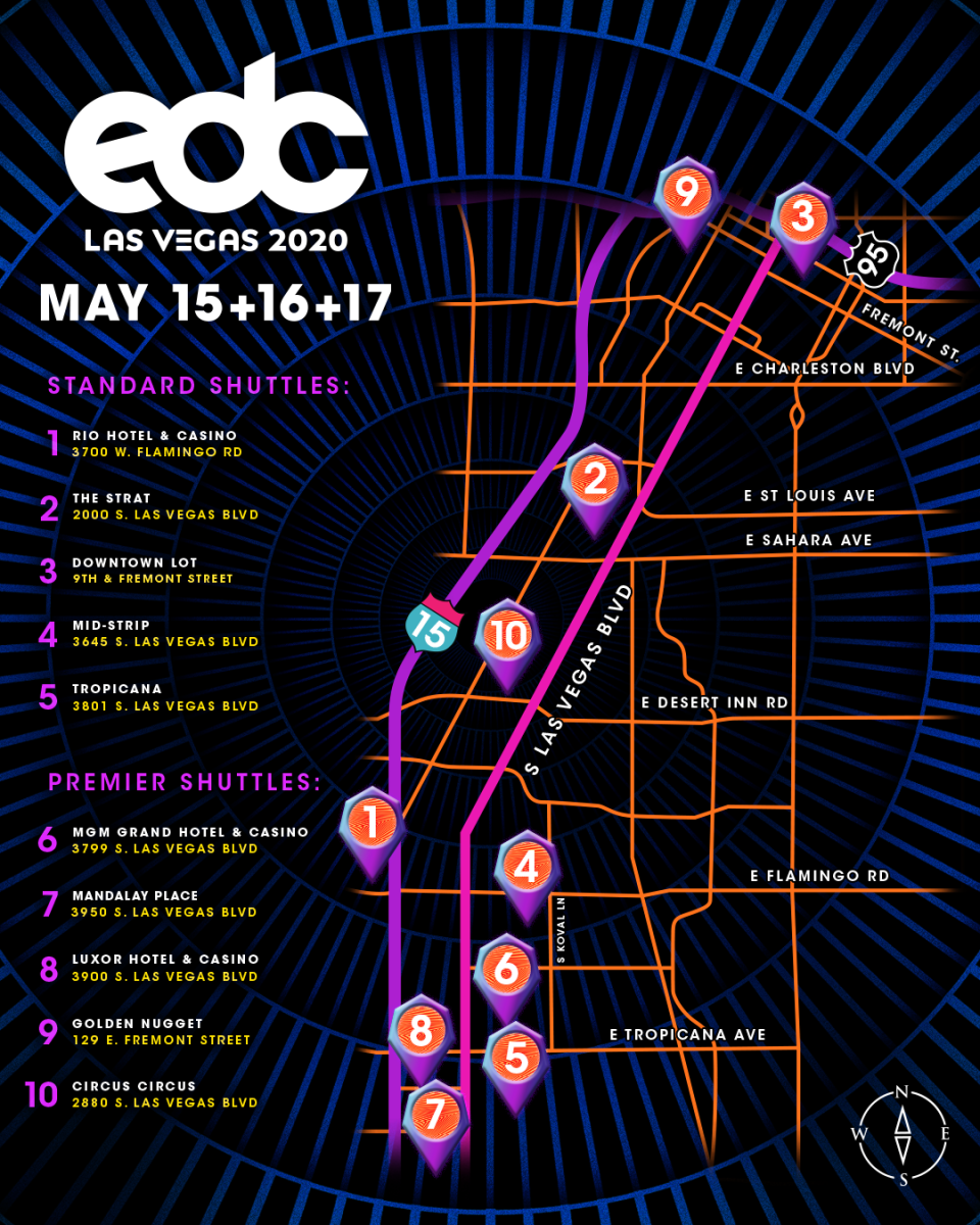 EDC Las Vegas 2020 Shuttle Map