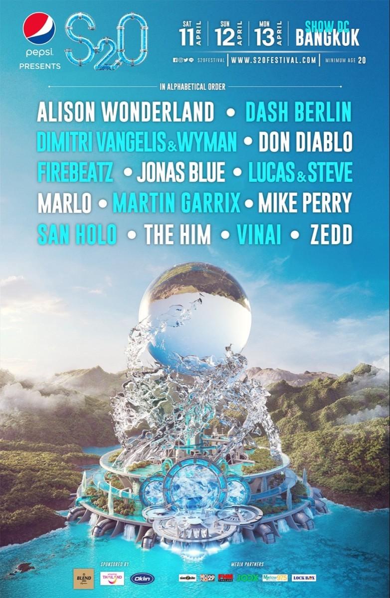 S2O Songkran Music Festival lineup flyer.
