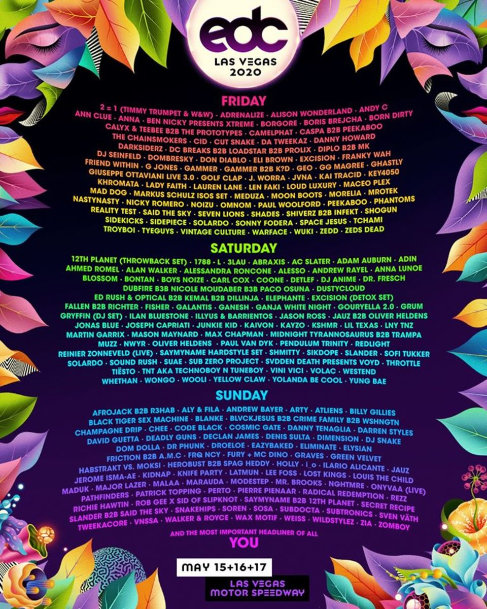 The lineup by day flyer for EDC Las Vegas 2020.
