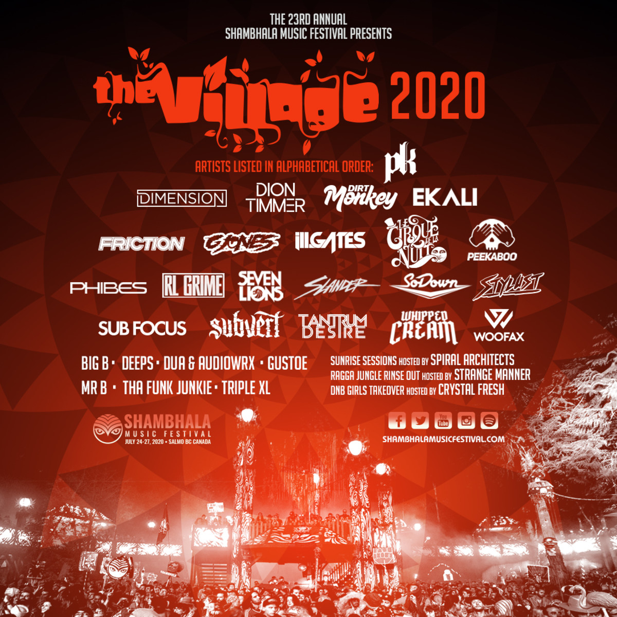 Shambhala Music Festival The Village Stage Line Up 2020