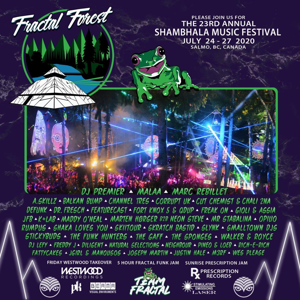 Shambhala Music Festival Fractal Forest Lineup 2020