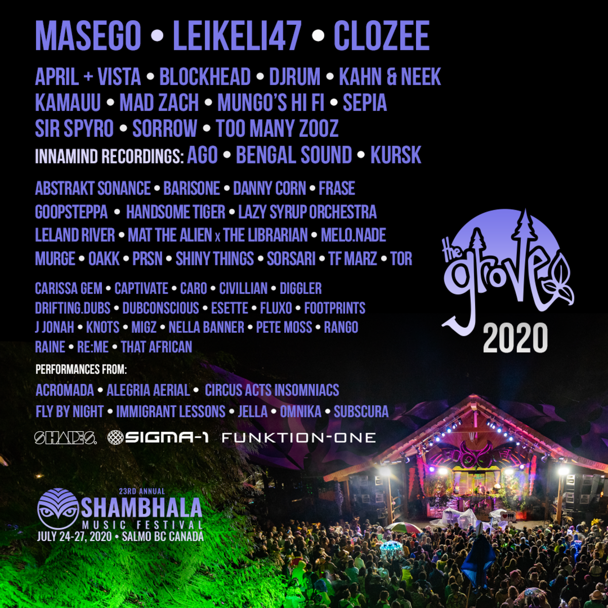 Shambhala Music Festival The Grove Stage Line Up 2020