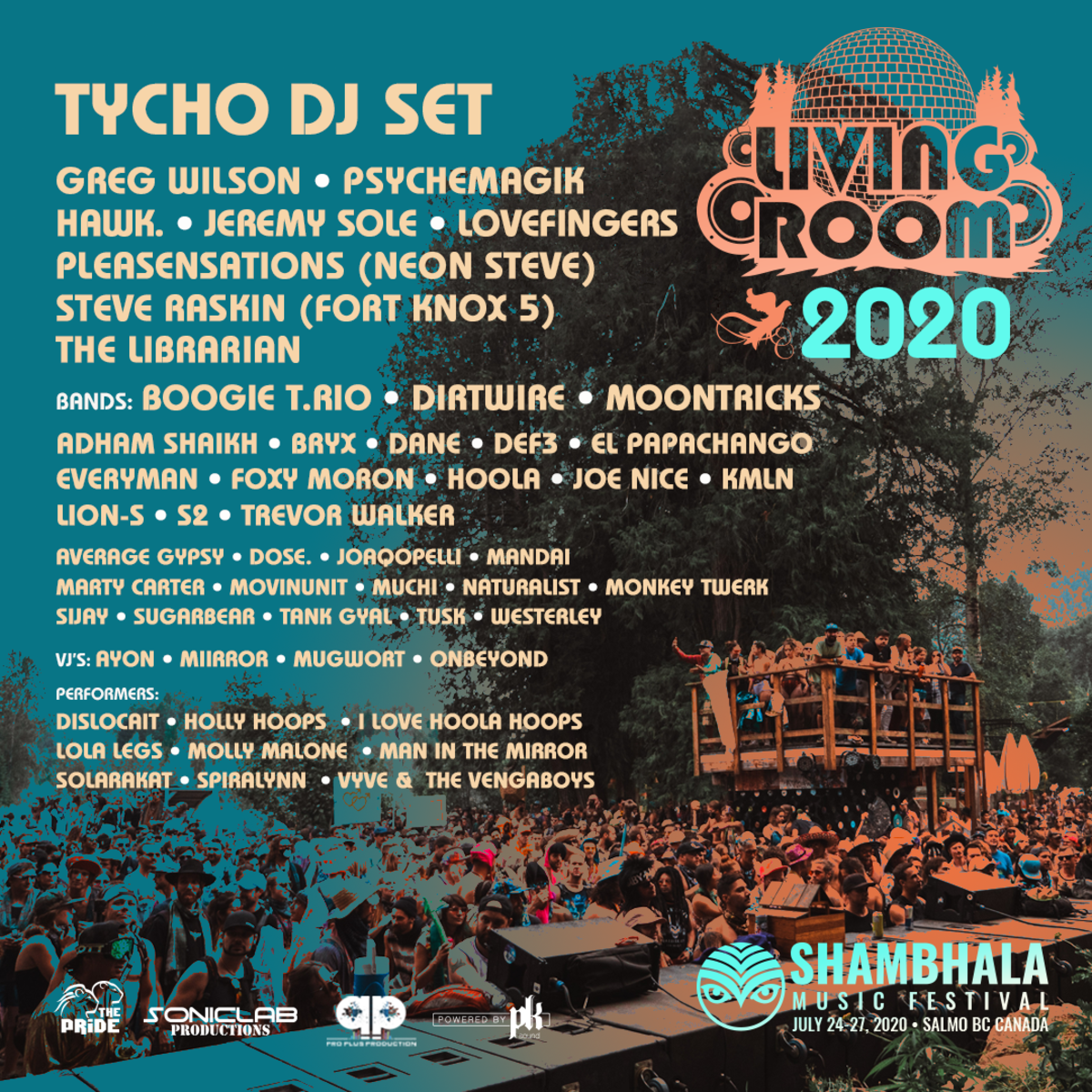 Shambhala Music Festival Living Room Stage Line Up 2020