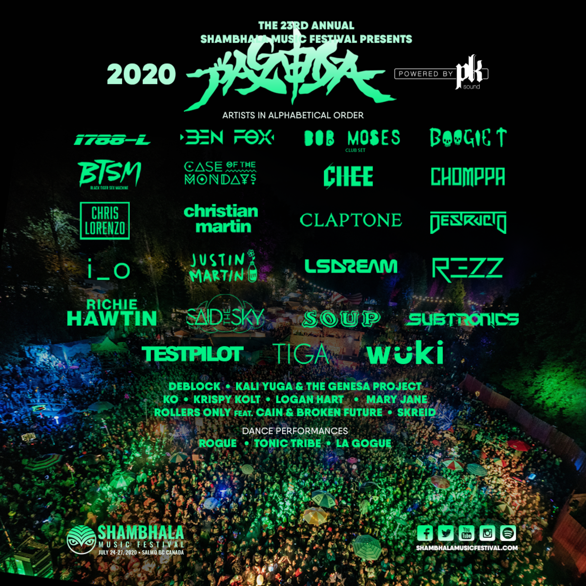 Shambhala Music Festival The Pagoda Stage Line Up 2020