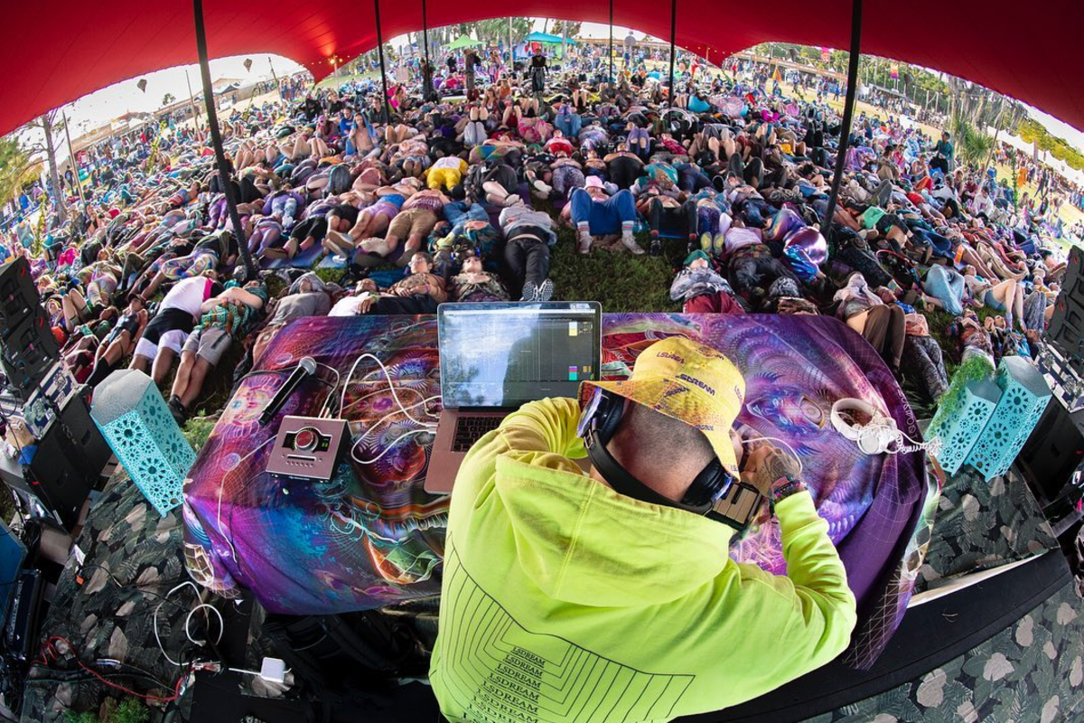 LSDREAM leading a sound bath yoga set at Okeechobee Music Festival on March 7, 2020.