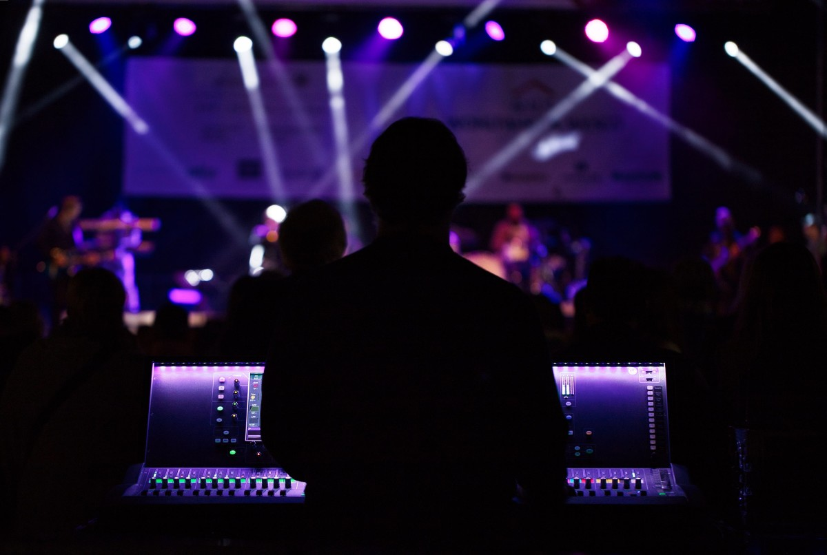 behind shot of sound engineer