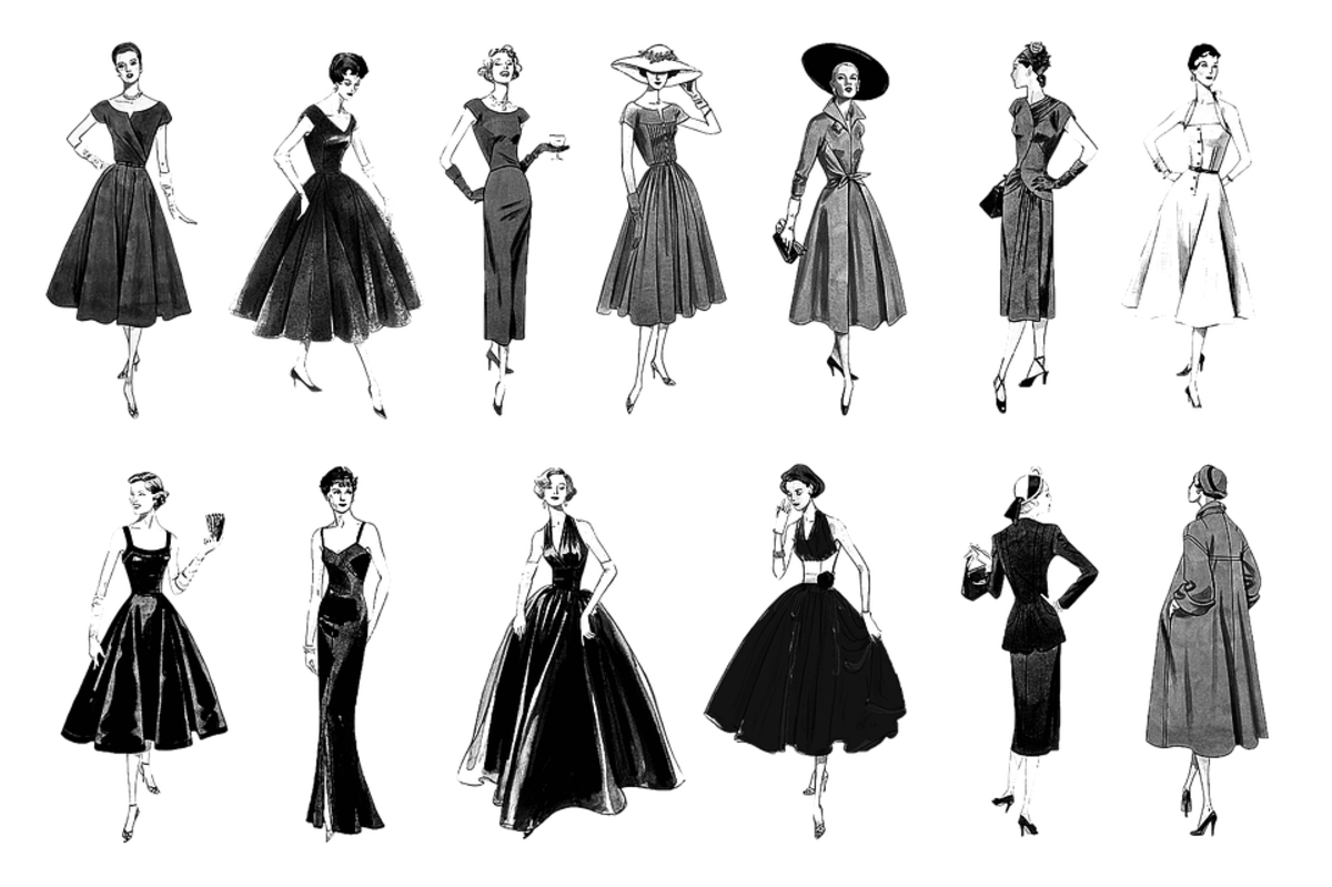 retro womens dress illustrations