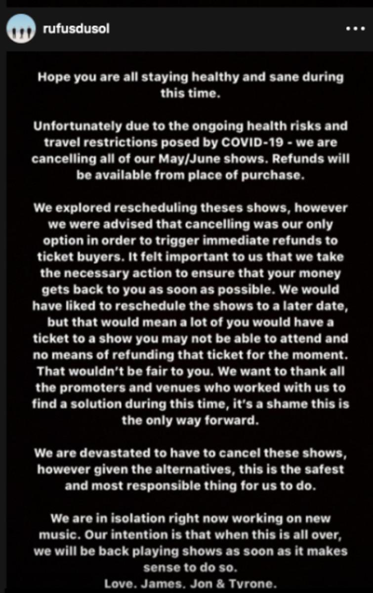 Rüfüs Du Sol ticket refund statement