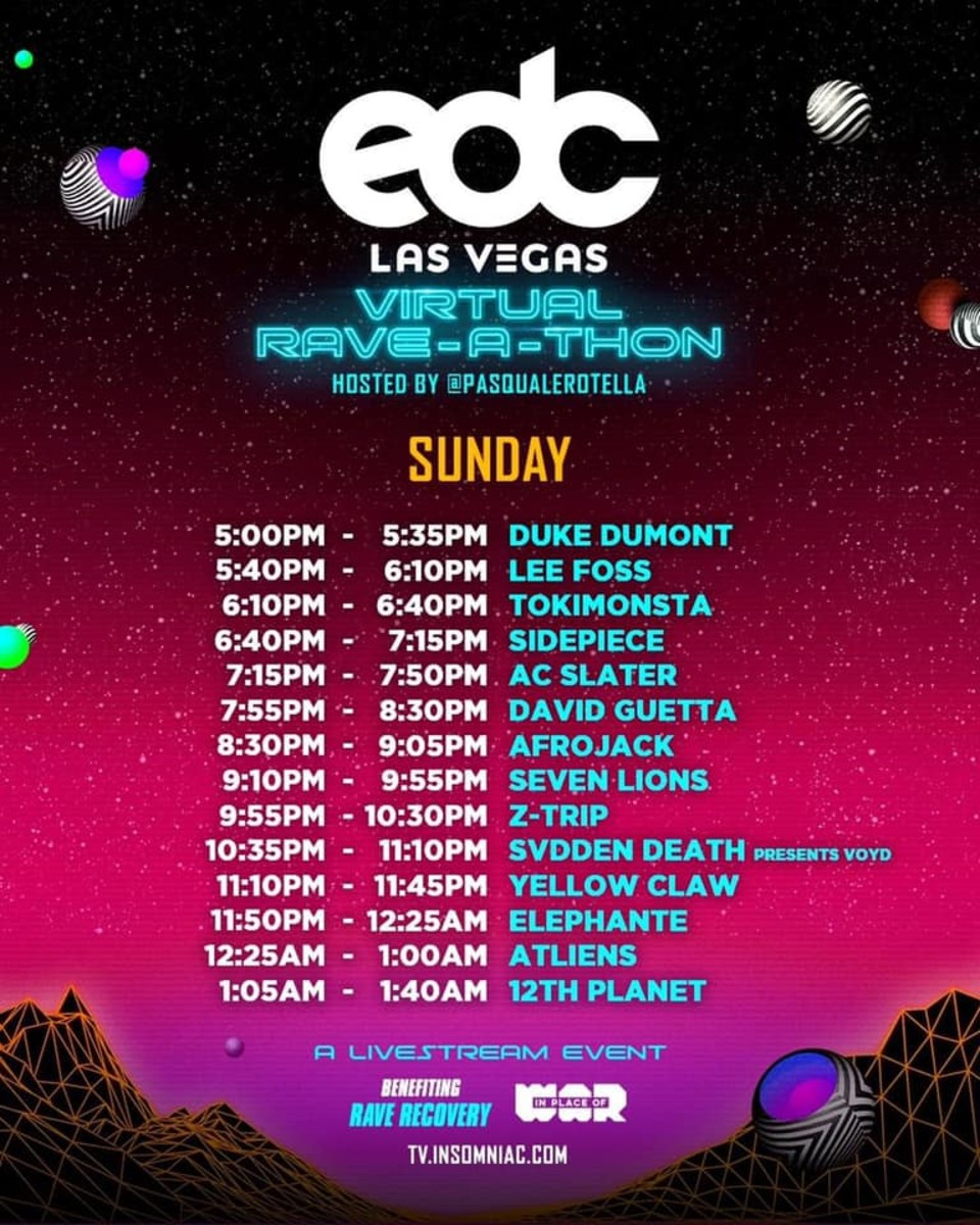 EDC Las Vegas Virtual Rave-A-Thon Day 3 Set Times